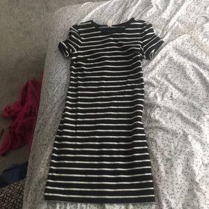 Midi black striped shirt dress